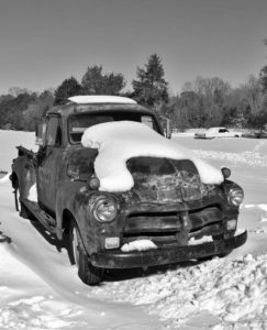 1954 Chevy Truck in the Snow - Call Armistead Computer & Internet Services, King William, Va.