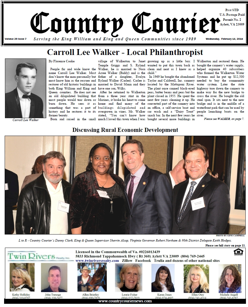 Front Page of the February 14, 2018 issue of the Country Courier