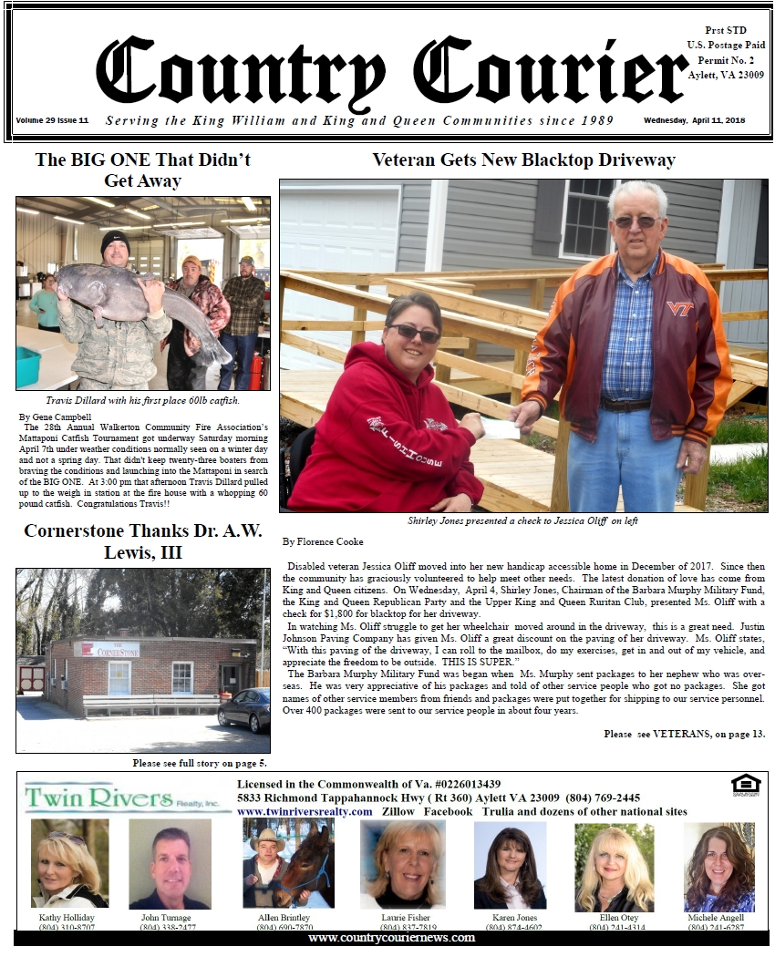 April 11, 2018 online issue of the Country Courier Newspaper