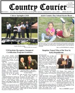 May 9, 2018 online issue of the Country Courier Newspaper. Serving the King William & King & Queen communities since 1989.