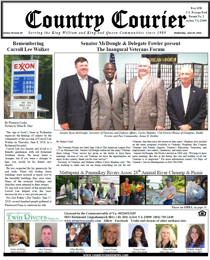 June 20, 2018 online issue of the Country Courier Newspaper. Serving the King William & King & Queen communities since 1989.