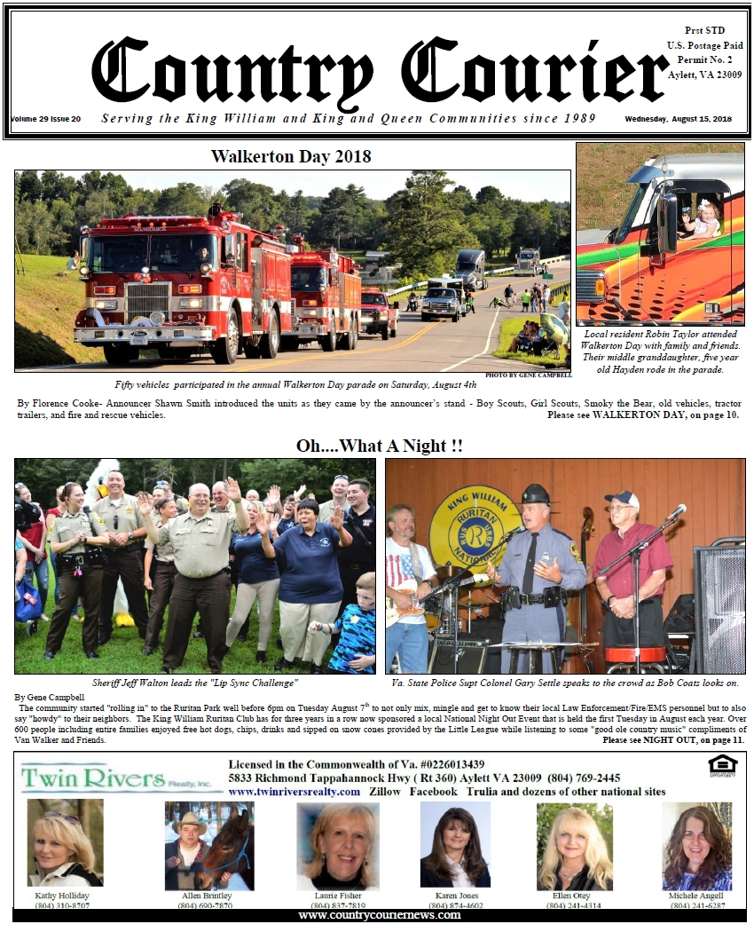 August 15, 2018 County Courier Newspaper online Issue - Walkerton Day - National Night Out - Serving the King William & King & Queen communities since 1989.
