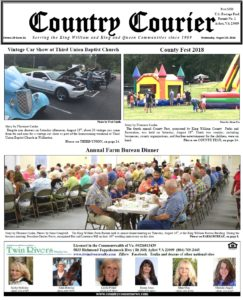 August 29, 2018 online issue of the Country Courier Newspaper. Serving the King William & King & Queen communities since 1989.