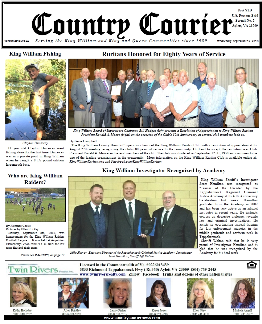 September 12, 2018 online issue of the Country Courier Newspaper. Serving the King William & King & Queen communities since 1989.