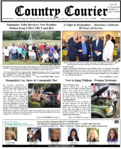 September 26, 2018 online issue of the Country Courier Newspaper. Serving the King William & King & Queen communities since 1989.