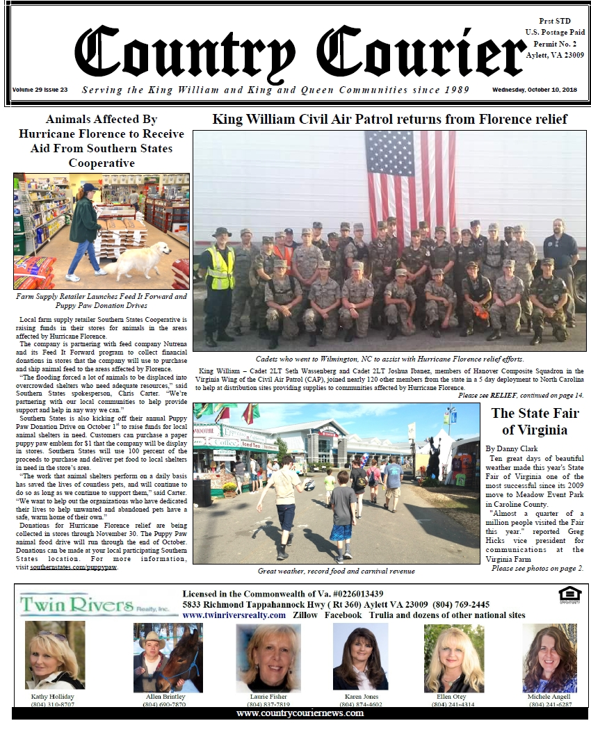 October 10, 2018 online issue of the Country Courier Newspaper. Serving the King William & King & Queen communities since 1989.