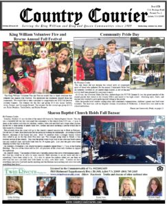 October 24, 2018 online issue of the Country Courier Newspaper. Serving the King William & King & Queen communities since 1989.