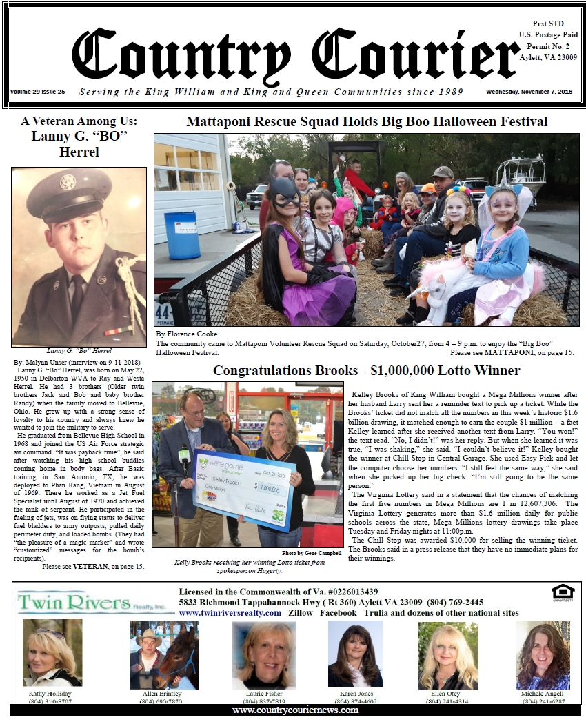 November 7, 2018 online issue of the Country Courier Newspaper. Serving the King William & King & Queen communities since 1989.
