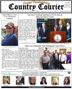 November 21, 2018 online issue of the Country Courier Newspaper. Serving the King William & King & Queen communities since 1989.