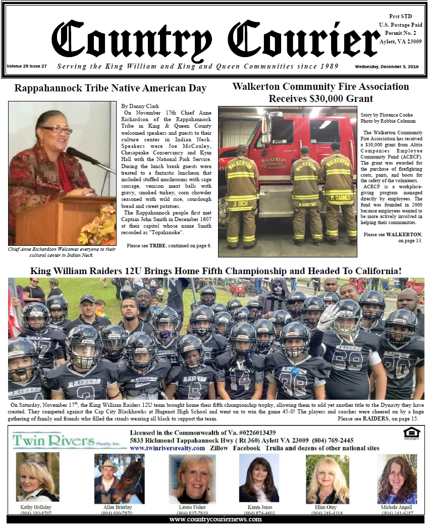 December 5, 2018 online issue of the Country Courier Newspaper. Serving the King William & King & Queen communities since 1989.