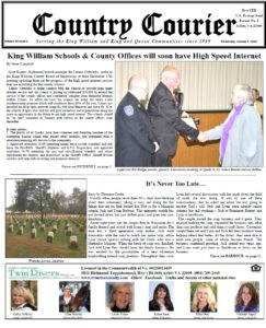 January 9, 2019 online issue of the Country Courier Newspaper. Serving the King William & King & Queen communities since 1989.