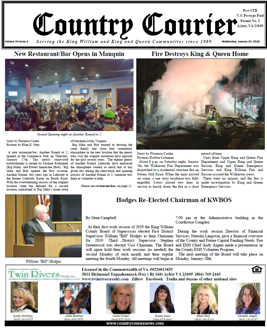 January 23, 2019 online issue of the Country Courier Newspaper. Serving the King William & King & Queen communities since 1989.