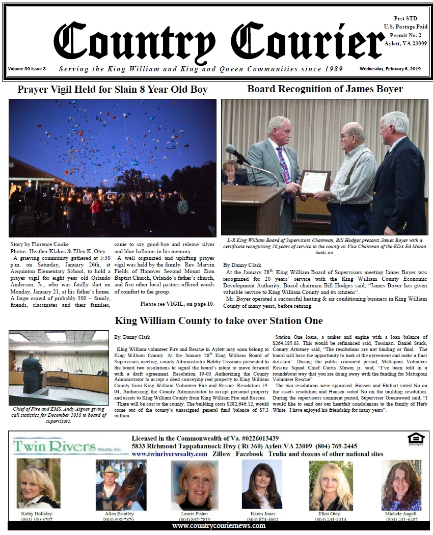 February 6, 2019 online issue of the Country Courier Newspaper. Serving the King William & King & Queen communities since 1989.