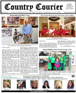 February 20, 2019 online issue of the Country Courier Newspaper. Serving the King William & King & Queen communities since 1989. http://countrycouriernews.com