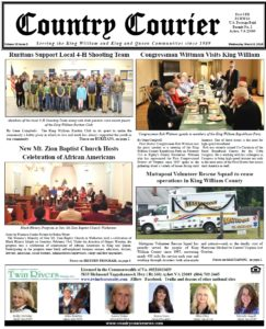 March 6, 2019 online issue of the Country Courier Newspaper. Serving the King William & King & Queen communities since 1989.
