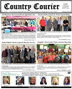 April 3, 2019 online issue of the Country Courier Newspaper. Serving the King William & King & Queen communities since 1989.