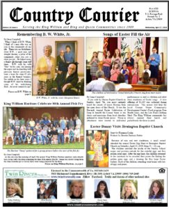 April 17, 2019 online issue of the Country Courier Newspaper. Serving the King William & King & Queen communities since 1989.