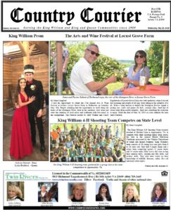 May 29, 2019 online issue of the Country Courier Newspaper. Serving the King William & King & Queen communities since 1989.