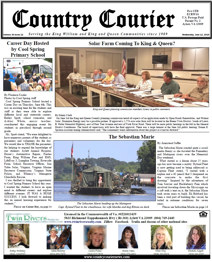 June 12, 2019 online issue of the Country Courier Newspaper. Serving the King William & King & Queen communities since 1989.