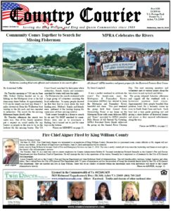 June 26, 2019 online issue of the Country Courier Newspaper. Serving the King William and King & Queen communities since 1989.