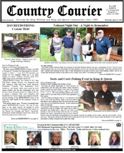 August 21, 2019 online issue of the Country Courier Newspaper. Serving the King William and King & Queen communities since 1989.