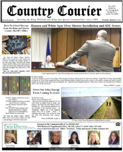 September 4, 2019 online issue of the Country Courier Newspaper. Serving the King William and King & Queen communities since 1989.