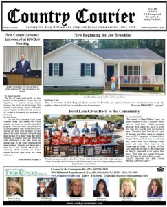 October 2, 2019 online issue of the Country Courier Newspaper. Serving the King William and King & Queen communities since 1989.
