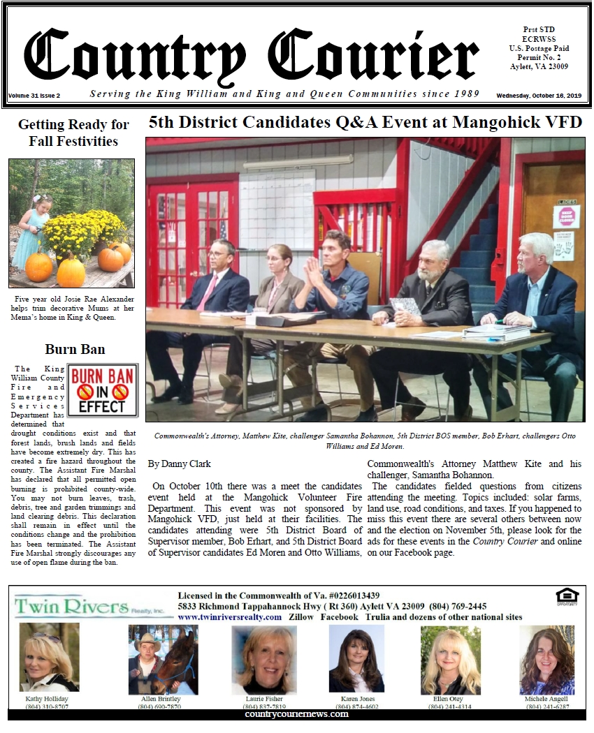 October 16, 2019 online issue of the Country Courier Newspaper. Serving the King William and King & Queen communities since 1989.