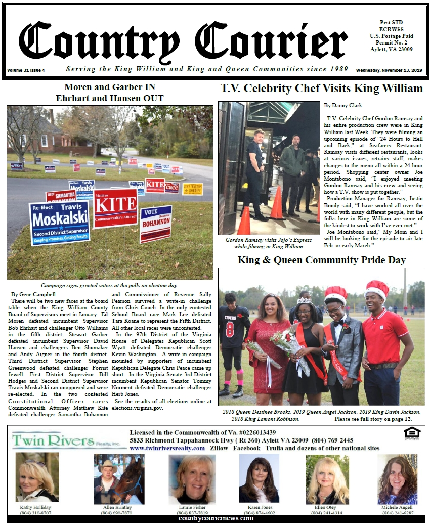 November 13, 2019 online issue of the Country Courier Newspaper. Serving the King William and King & Queen communities since 1989.