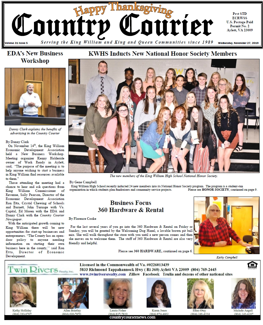 November 27, 2019 online issue of the Country Courier Newspaper. Serving the King William and King & Queen communities since 1989. The Country Courier's website, SEO & social media are managed by Call Armistead Computer Services. If you want your business to be found online call 804-874-3294 or visit https://CallArmistead.com