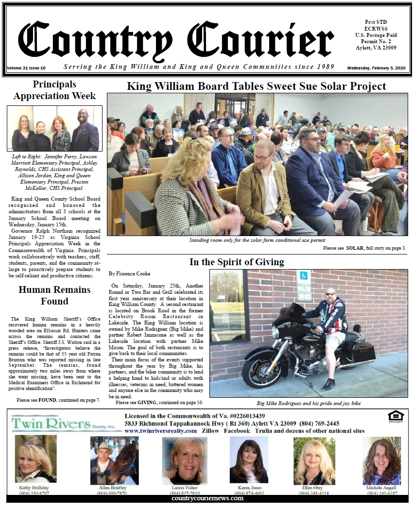 February 5, 2020 online issue of the Country Courier Newspaper. Serving the King William and King & Queen communities since 1989.