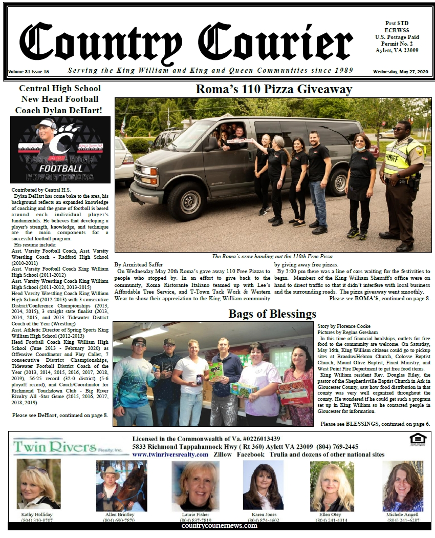 May 27, 2020 online issue of the Country Courier Newspaper. Serving the King William and King & Queen communities since 1989.