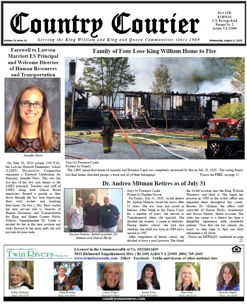 August 5, 2020 online issue of the Country Courier Newspaper. Serving the King William and King & Queen communities since 1989.