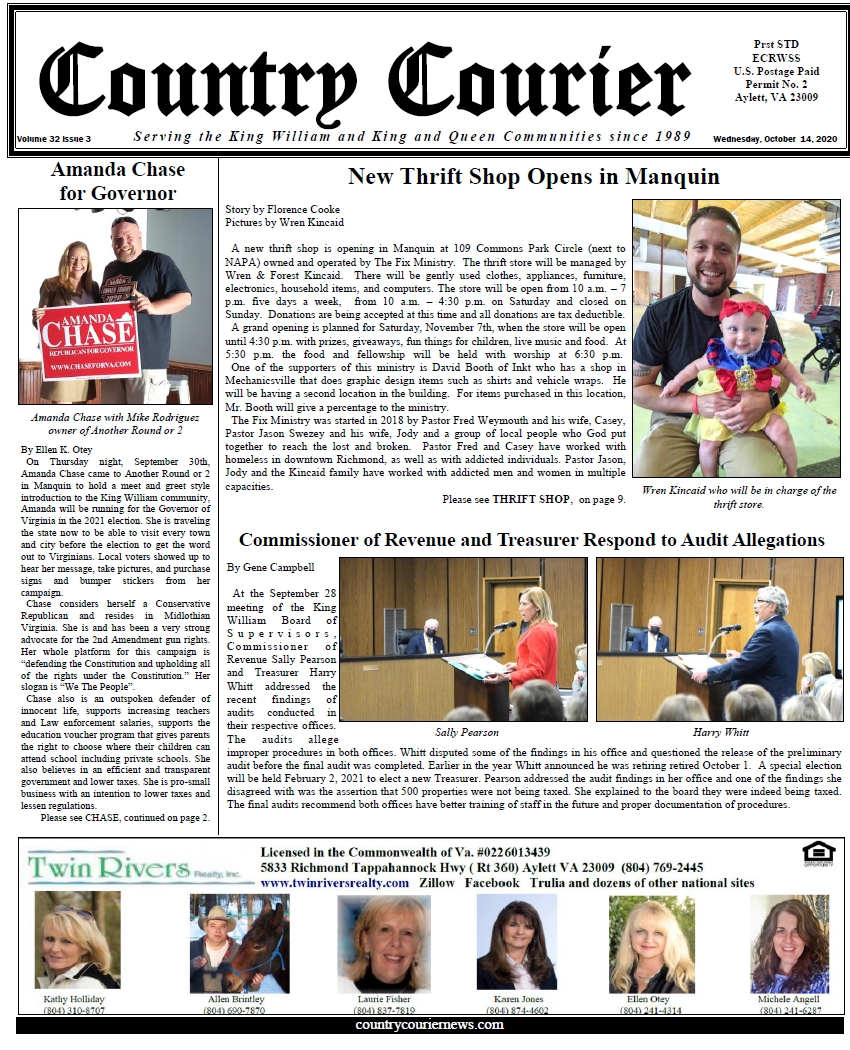 October 14, 2020, online issue of the Country Courier Newspaper. Serving the King William and King & Queen communities since 1989.