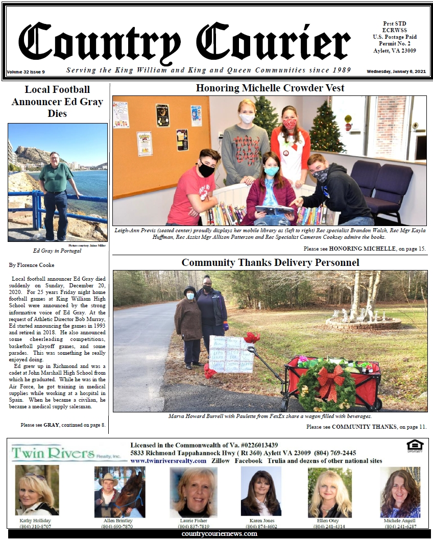 January 6, 2021, online issue of the Country Courier Newspaper. Serving the King William and King & Queen communities since 1989.