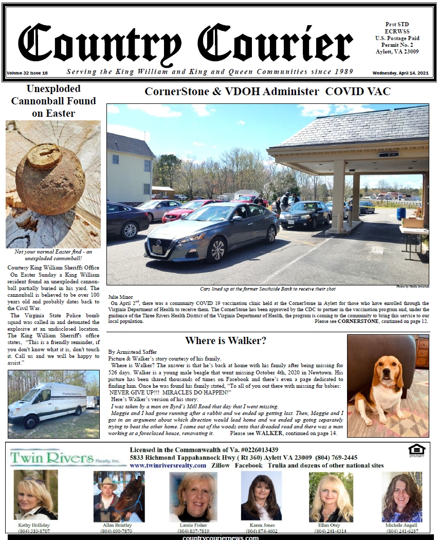 April 14, 2021, online issue of the Country Courier Newspaper. Serving the King William and King & Queen communities since 1989.