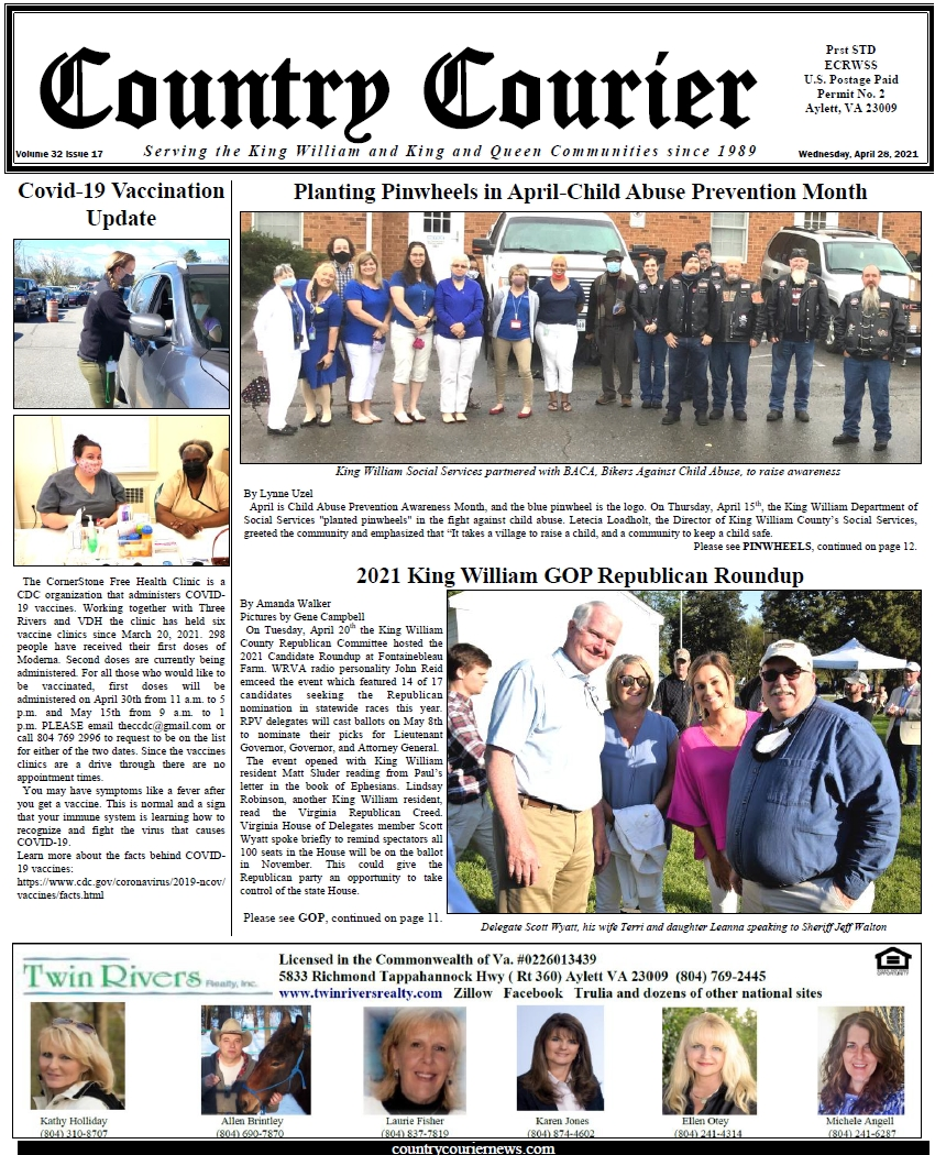 April 28, 2021, online issue of the Country Courier Newspaper. Serving the King William and King & Queen communities since 1989.