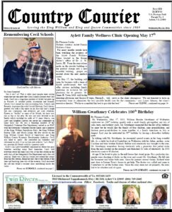 May 12, 2021, online issue of the Country Courier Newspaper. Serving the King William and King & Queen communities since 1989.
