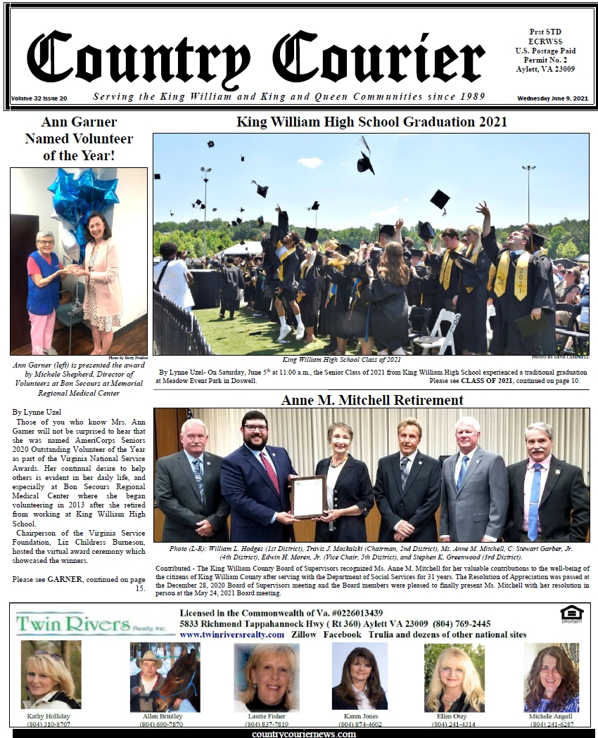 June 9, 2021, online issue of the Country Courier Newspaper. Serving the King William and King & Queen communities since 1989.