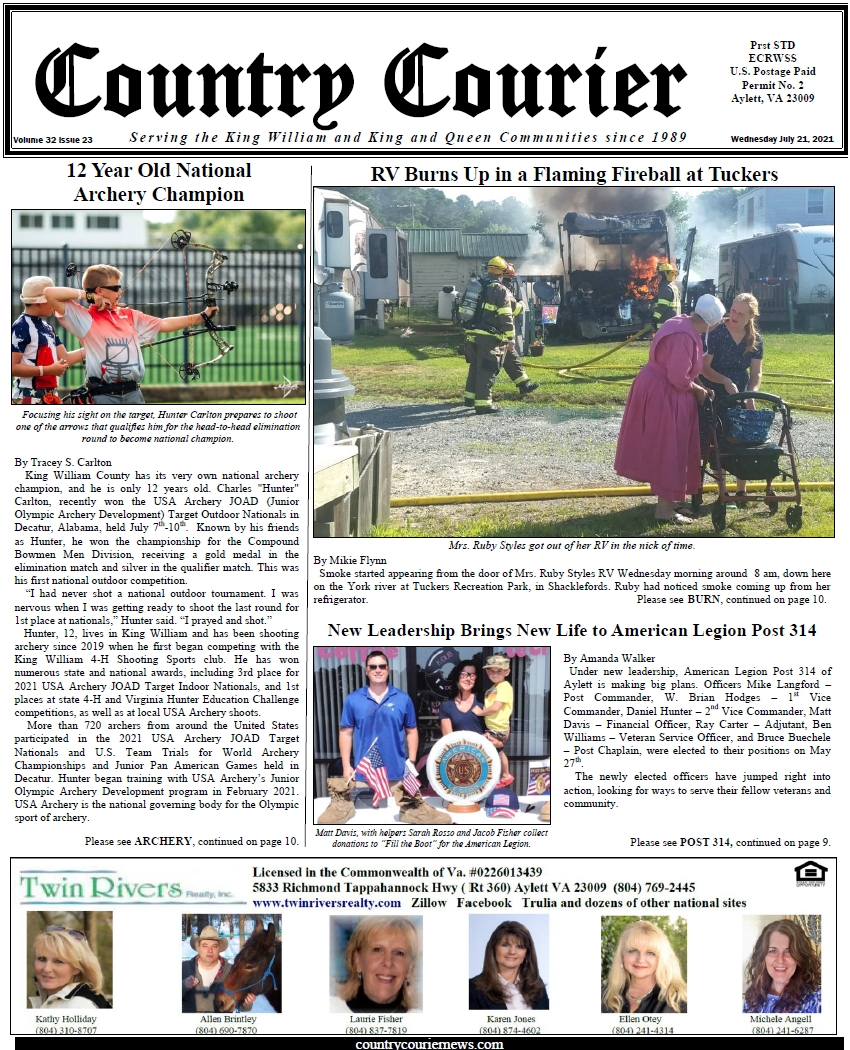 July 21, 2021, online issue of the Country Courier Newspaper. Serving the King William and King & Queen communities since 1989.