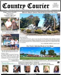 August 18, 2021, online issue of the Country Courier Newspaper. Serving the King William and King & Queen communities since 1989.