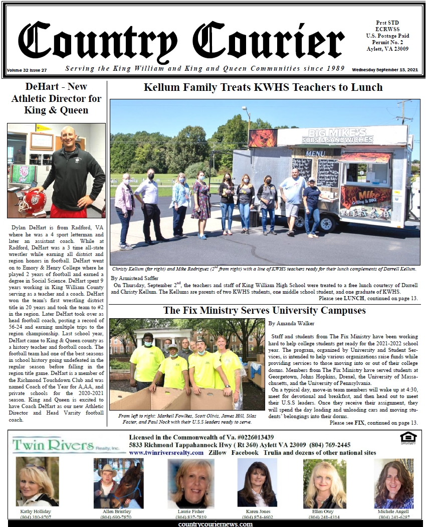 September 15, 2021, online issue of the Country Courier Newspaper. Serving the King William and King & Queen communities since 1989.
