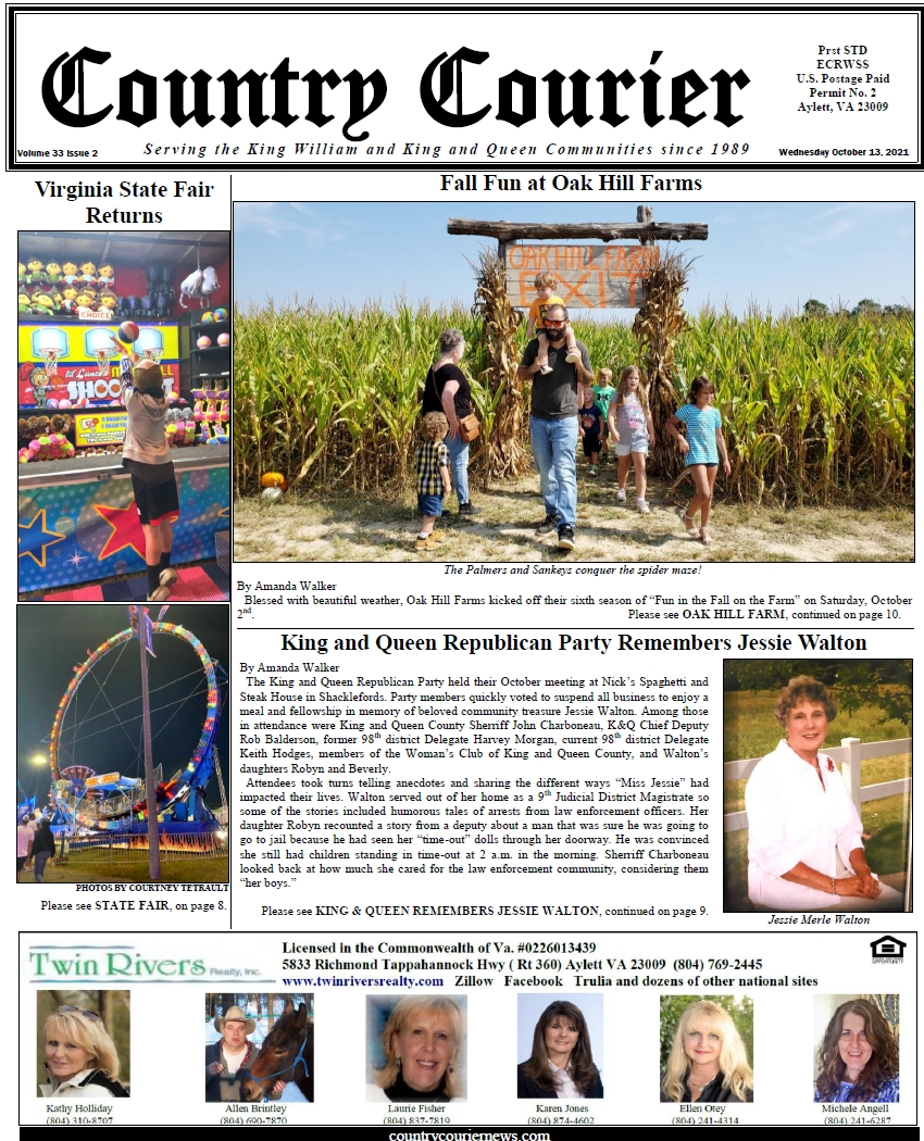 October 13, 2021, online issue of the Country Courier Newspaper. Serving the King William and King & Queen communities since 1989.